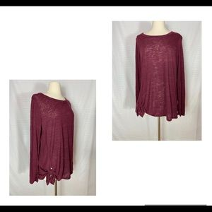 Bobeau Tie Front Long Sleeve Top XL Burgundy Red